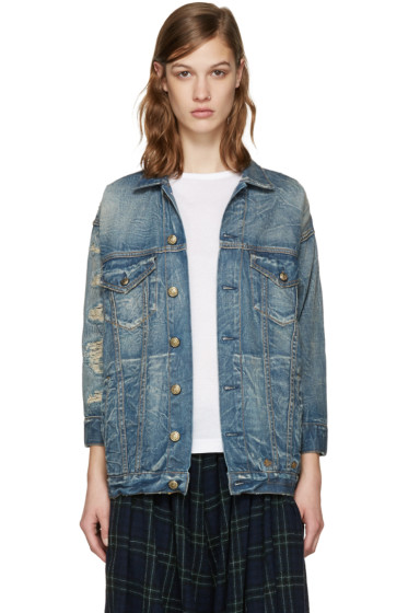 R13 - Blue Denim Shredded Trucker Jacket