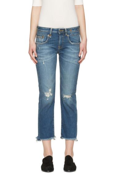 R13 - Blue Frayed Straight Boy Jeans