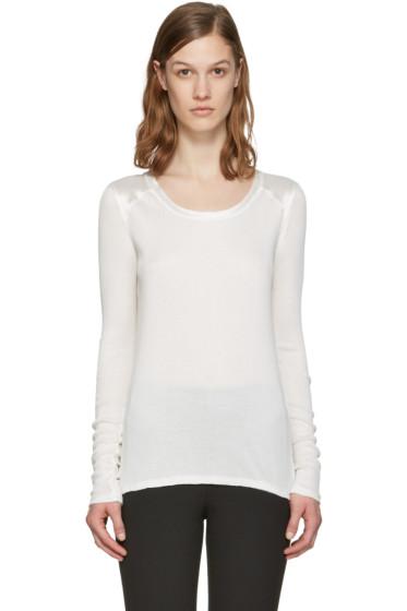 Rag & Bone - White Silk Gunner Long Sleeve T-Shirt