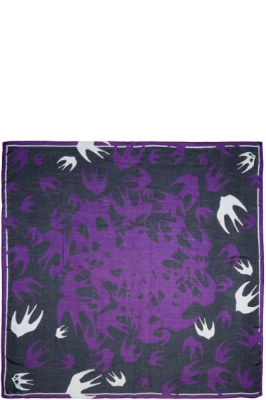 McQ Alexander Mcqueen - Purple Swallow Swarm Scarf