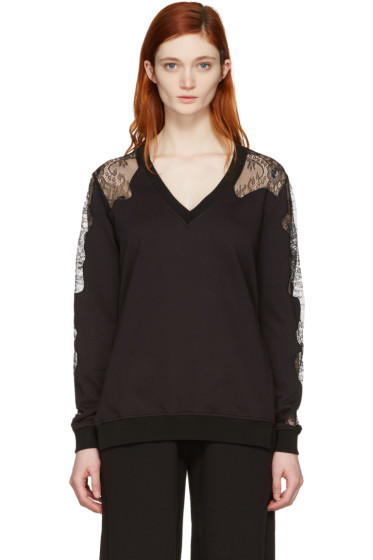 McQ Alexander Mcqueen - Black Lace-Trimmed Pullover
