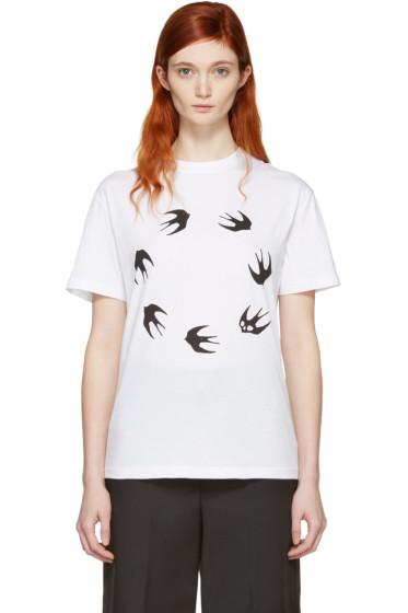 McQ Alexander Mcqueen - White Round Swallow Classic T-Shirt