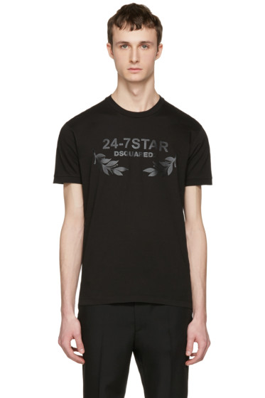 Dsquared2 - Black '24-7 Star' Logo T-Shirt