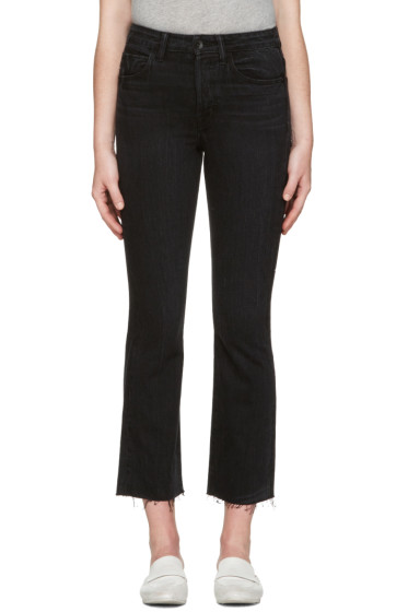 Helmut Lang - Black High Rise Crop Raw Jeans
