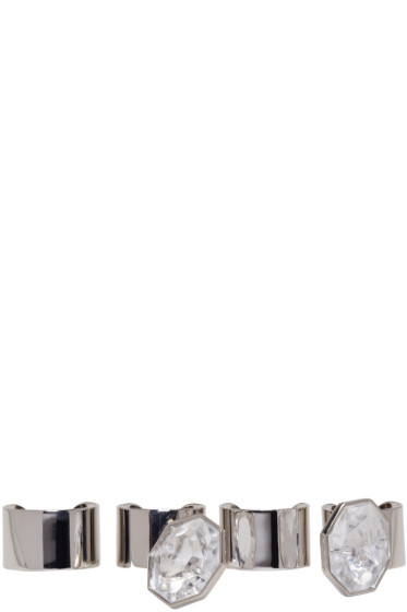 Maison Margiela - Set of Silver Crystal Rings