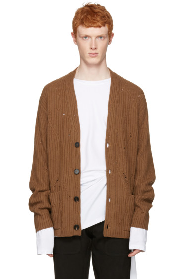 Maison Margiela - Brown Oversized Distressed Cardigan