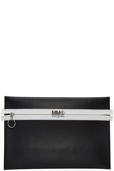 MM6 Maison Margiela - Black Faux-Leather Zip Pouch