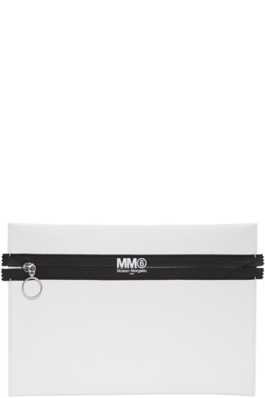 MM6 Maison Margiela - White Faux-Leather Pouch