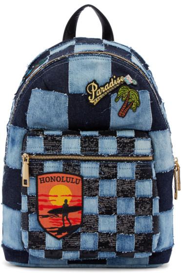 Marc Jacobs - Blue Denim Patchwork Backpack