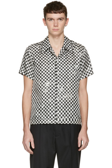 Marc Jacobs - Black Check Silk Pyjama Shirt