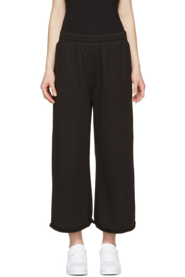 T by Alexander Wang - Black Cropped Wide Lounge Pants
