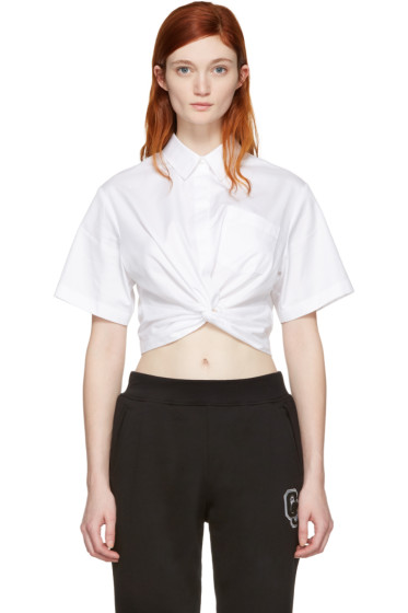 T by Alexander Wang - White Twist Short Sleeve Cropped Shirt