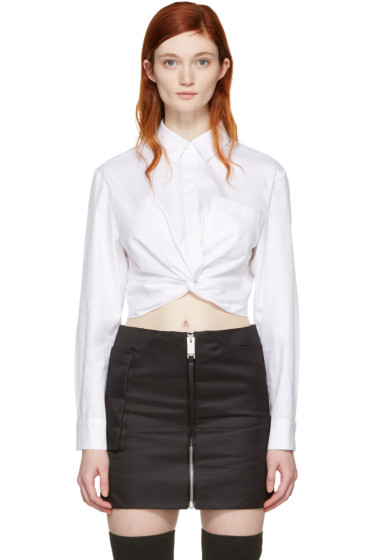 T by Alexander Wang - White Twist Long Sleeve Cropped Shirt