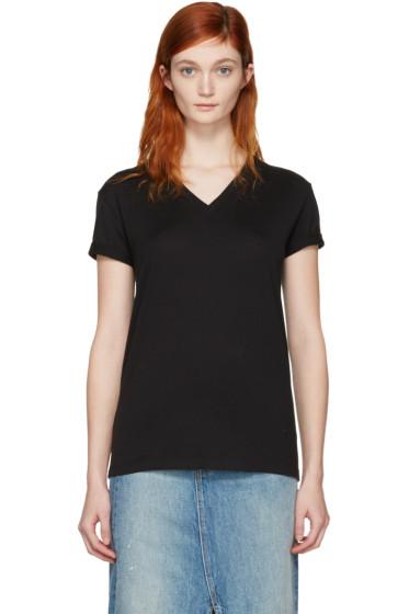 T by Alexander Wang - Black V-Neck T-Shirt