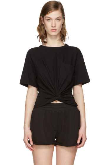 T by Alexander Wang - Black Front Twist T-Shirt