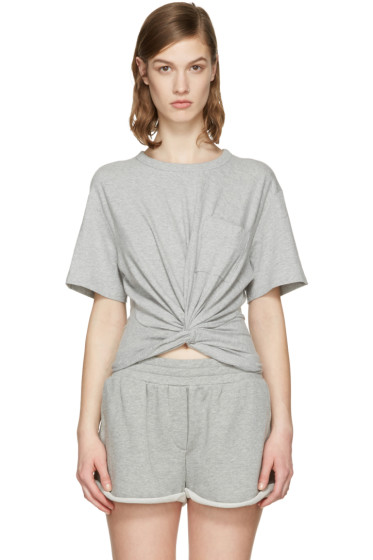 T by Alexander Wang - Grey Front Twist T-Shirt