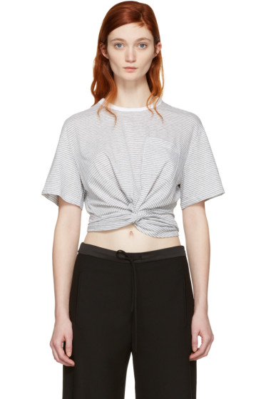 T by Alexander Wang - Grey & White Front Twist T-Shirt
