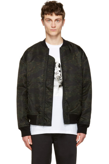 T by Alexander Wang - Green Camo Back Insert Bomber Jacket