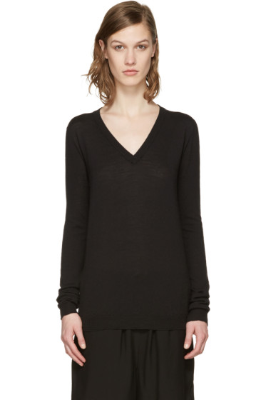 Rick Owens - Black V-Neck Lupetto Sweater