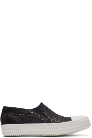 Rick Owens - Black Textured Boat Slip-On Sneakers