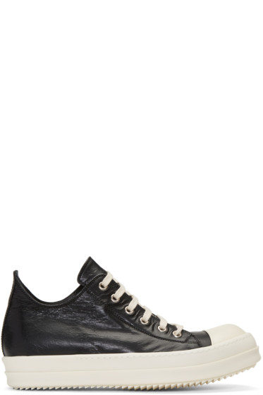 Rick Owens - Black Distressed Low Sneakers