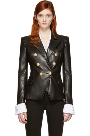Balmain - Black Leather Double-Breasted Blazer