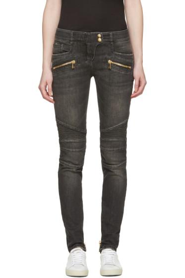 Balmain - Grey Biker Jeans