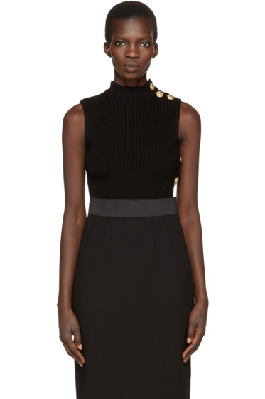 Balmain - Black Sleeveless Turtleneck