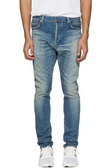 Balmain - Blue Distressed Low-Rise Jeans