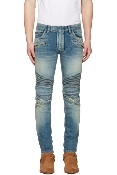 Balmain - Blue Distressed Biker Rib Jeans
