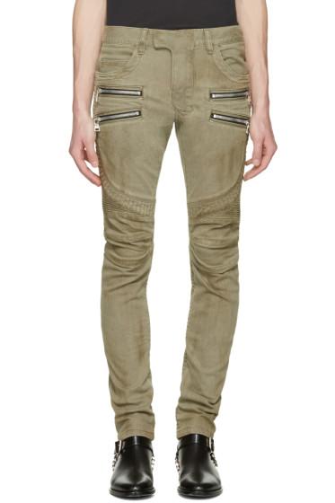 Balmain - Beige Biker Rib Zip Jeans