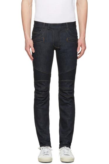 Balmain - Indigo Biker Rib Jeans