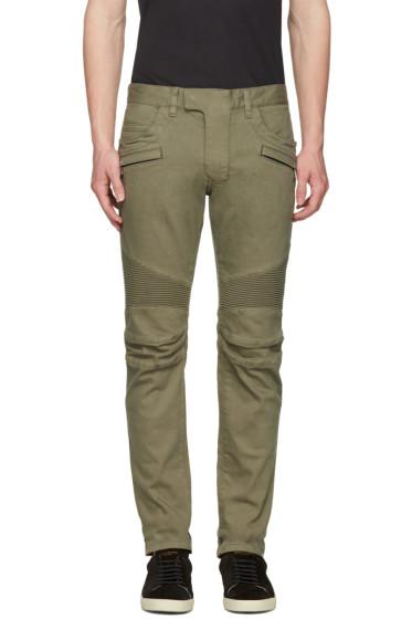 Balmain - Green Biker Rib Jeans