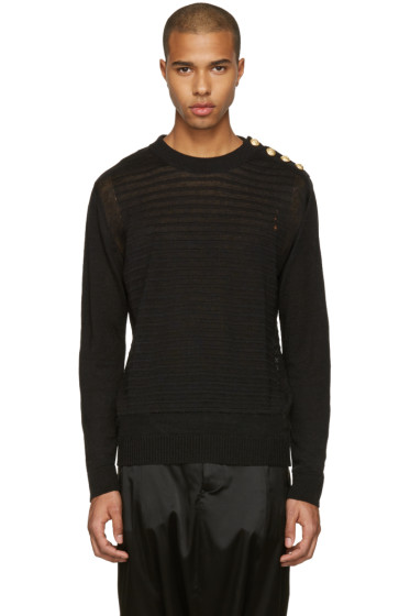 Balmain - Black Relief Sweater