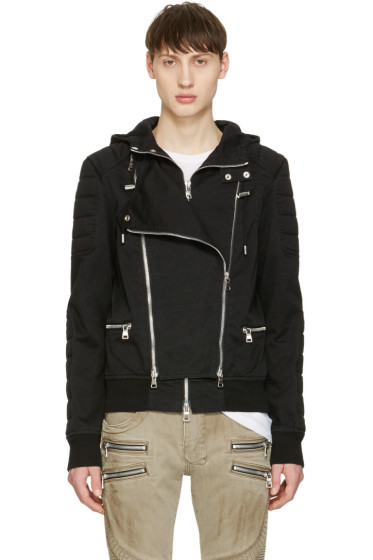 Balmain - Black Hooded Biker Jacket