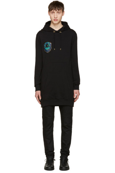 Balmain - Black Long Embroidered Hoodie