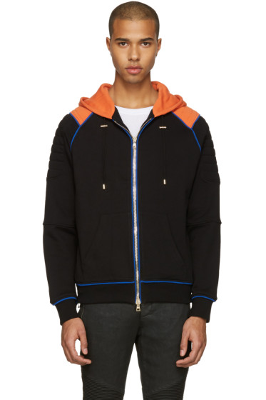 Balmain - Black & Orange Panelled Hoodie