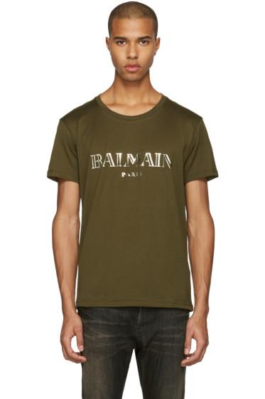 Balmain - Green Mylar Logo T-Shirt