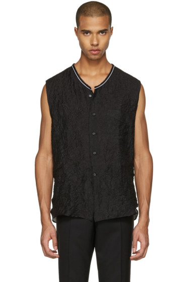 Lanvin - Black Crinkled Sleeveless Shirt