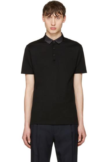 Lanvin - Black Grosgrain Collar Polo