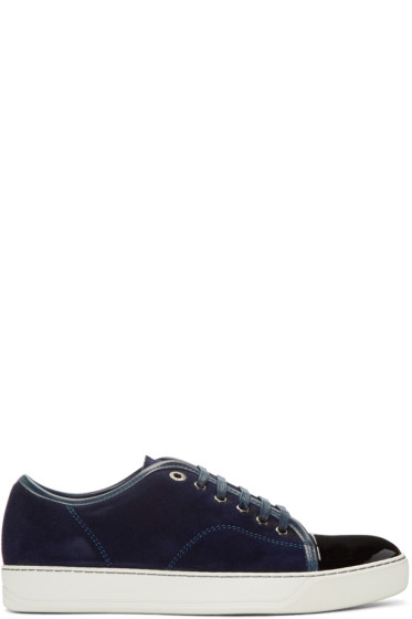 Lanvin - Navy Suede Tennis Sneakers