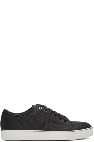 Lanvin - Black Perforated Low-Top Sneakers