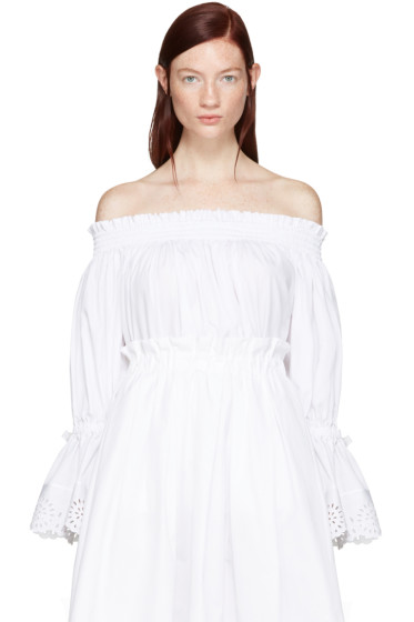 Alexander McQueen - White Embroidered Off-The-Shoulder Blouse