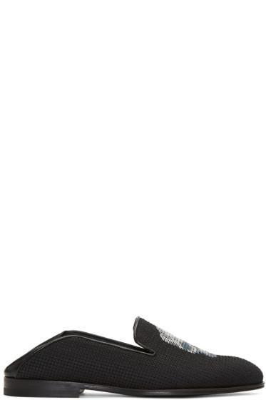 Alexander McQueen - Black Skull Fold Over Loafers