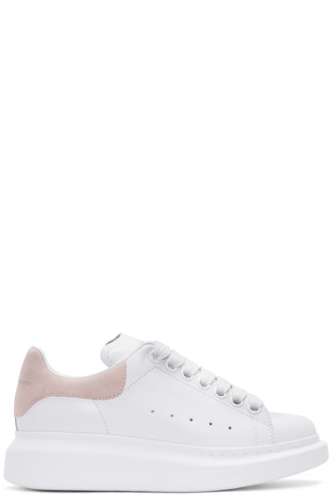 Alexander McQueen - White & Pink Leather Sneakers