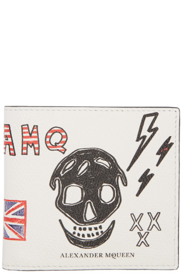 Alexander McQueen - White Leather Doodle Wallet
