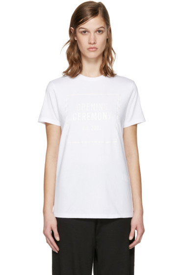 Opening Ceremony - White Gel Box Logo T-Shirt
