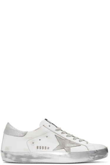 Golden Goose - White Sparkle Superstar Sneakers