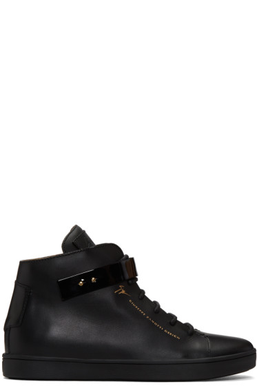 Giuseppe Zanotti - Black Leather Slim High-Top Sneakers