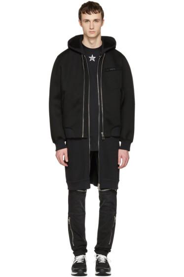 Givenchy - Black Neoprene Layered Coat
